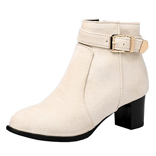 Buckle Heel Block With Zip Leather Beige Mid Ankle Nubuck Agodor Shoes Womens Colsed Winter Boots Toe tTwOxga