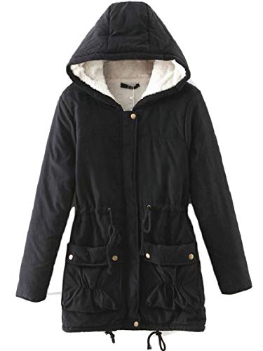 Jacket Stylish Women's Quilted Drawstring Hood 1 security Splicing Pockets Wool with Lamb v4wpFwqf