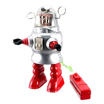 Off the Wall Toys Vintage Style Remote Control Piston Action Robot Tin Toy: Toys & Games