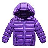 Happy Cherry Toddler Girls Warm DownCoat Hooded Puffer Jacket Windbreaker Outerwear Winter Thin Coats Purple