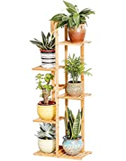 Bamboo Potted Plant Stand 5 Tiers, 40.6inch Rustproof Decorative Flower Pot Rack with Indoor Outdoor Art Planter Holders Garden Pots Containers Supports Corner Display Stand
