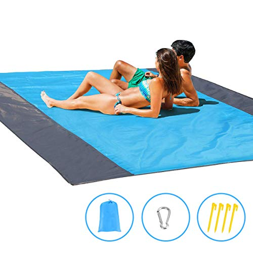 EMISK Sandfree Beach Mat, Portable Compact Lightweight Beach Mat - Water Resistant Outdoor Beach Blanket for Travel, Camping, Hiking, Large Picnic Blanket Mat 9 x 7ft for 7 Adults