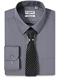 Mens Dress Shirts Regular Fit Solid Color Shirt