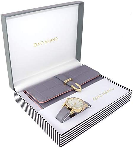 Women s Classy Leather Band Matching Watch Tri-Fold Leather Wallet Gift Set