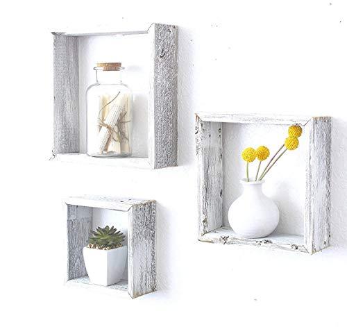 BarnwoodUSA Rustic Shelves, Square Floating Wood Shadowbox, Home Decor, Set of 3 (White Wash) ()