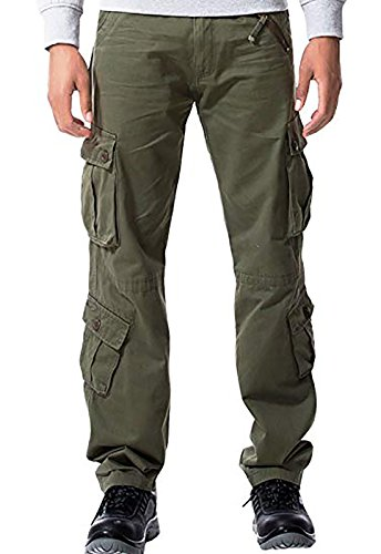 MAGE MALE Men's Cargo Work Pants Tactical Cotton Casual Combat Military Trousers with 8 Pocket Grass Green