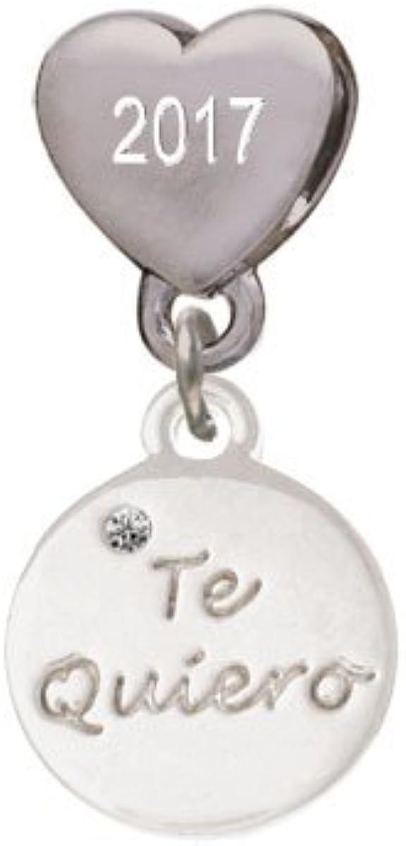 Te Quiero Disc Custom Year Stainless Steel Heart Bead Charm