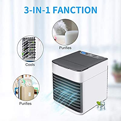 USB Mini Air Conditioner Cooler, Humidifiers, Purifier 3 in 1 Evaporative Cooler Portable Mini Size Table Fan
