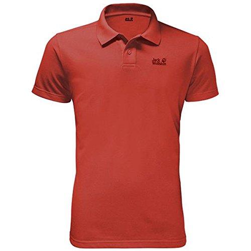 Jack Wolfskin Hombres Piqué Polo Camiseta Volcano Rojo S