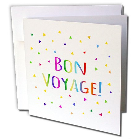 3dRose Bon Voyage Rainbow text with Multicolor Confetti Greeting Cards, 6