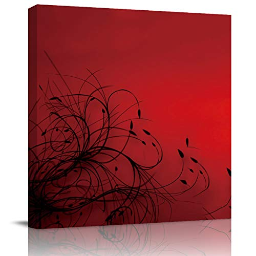 BABE MAPS 28x28 in Wall Art Abstract Red Black Flower Abstract Wallpaper Artwork Canvas Print Painting Stretched and Framed for Living Room Home Decor Photo Prints Modern
