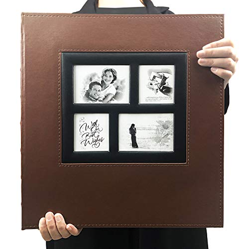 RECUTMS Photo Album 600 Pockets,Sewn Bonded Black Leather Book Pockets Hardcover Photo Frame 4x6 Photos Anniversary Baby Vacation Album (Brown)