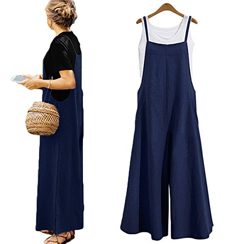 Women's Loose Linen Suspender Trousers Wide Leg Overalls Jumpsuit Romper Harem Pants Plus Size (US L/TAG XL, Blue)