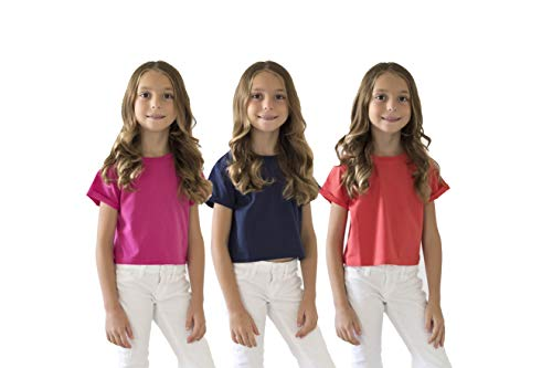 KIDPIK KIDIK Girls T Shirts 3Pack Roll Sleeve Tee(Poppy Red/Fuchsia Purple Navy)- XL
