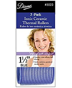 Diane Self Grip Ion Ceramic Rollers, Blue, 1 1/2 Inch, 3 Count