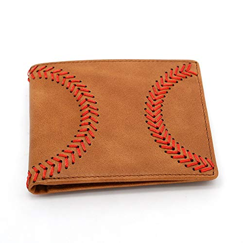 Leather Baseball Stitch - Baseball Wallet Genuine Leather Bifold RFID Blocking Raised Baseball Stitch