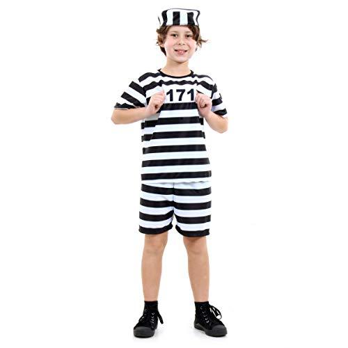 Fantasia Prisioneiro Infantil Sulamericana Fantasias Preto/Branco P 3/4 Anos