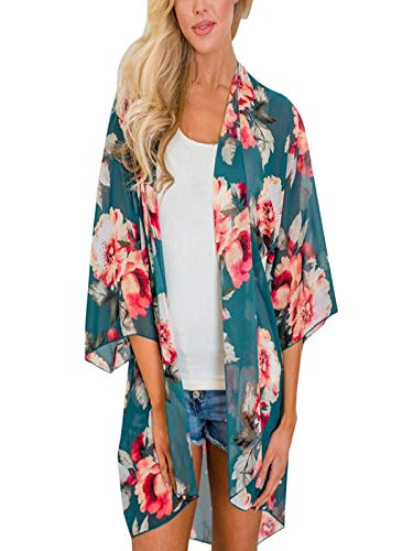 Chiffon Cardigan, Flower Print Open Front Shawl Kimono Coat Jackets Cover up Blouse Tops(Green,S)