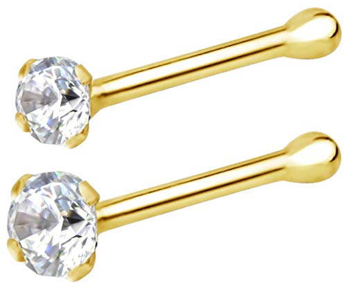 - Forbidden Body Jewelry 22g 14k Gold CZ Simulated Diamond Micro Nose Stud, 1.25mm/2mm CZ 2-Pack