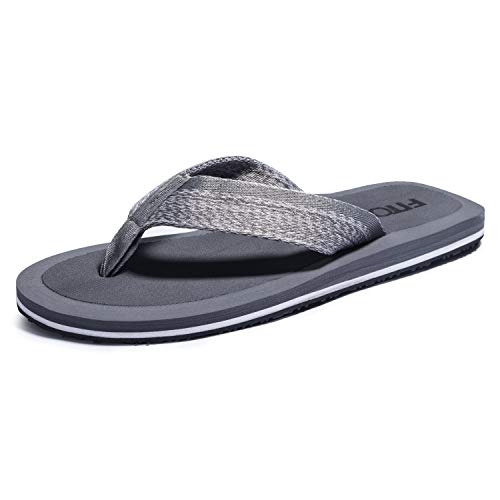 FITORY Mens Flip Flops, Thong Sandals Comfortable Beach Slippers for Summer Grey Size9