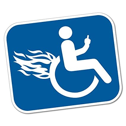 Handicap flames WHITE Sticker decal Car disability rights wheelchair sports