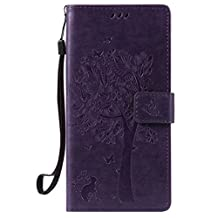 Nexus 6P Case, Ngift [Purple] [Cats and tree] [Wallet Function] PU Leather Folio Leather Stand Shell Flip Case Cover for Huawei Google Nexus 6P 5.7 Inch 2015