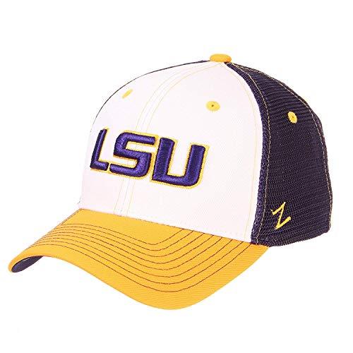 (Louisiana State University LSU Tigers Threepeat White Purple Yellow Soft Mesh Top Trucker Mens/Womens State Flag Baseball Hat Size Adjustable)