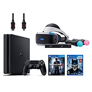 PlayStation VR Start Bundle 5 Items:VR Headset,Move Controller,PlayStation Camera Motion Sensor,PlayStation 4 Slim 500GB Console - Uncharted 4,VR Game Disc Arkham VR