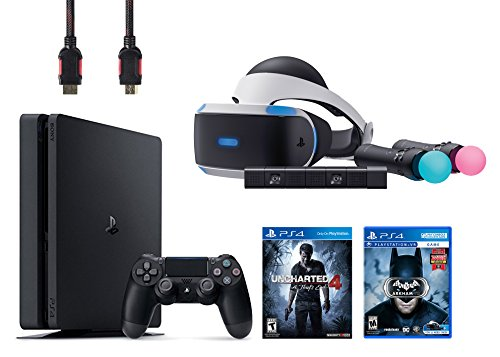PlayStation VR Start Bundle 5 Items:VR Headset,Move Controller,PlayStation Camera Motion Sensor,PlayStation 4 Slim 500GB Console – Uncharted 4,VR Game Disc Arkham VR
