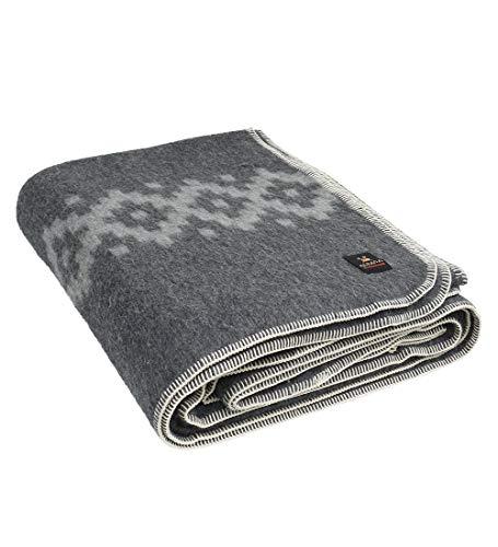 Thick Alpaca Wool Blanket King Size - Ethnic Design (Gray - Light Gray) (Best Heated Throw Australia)