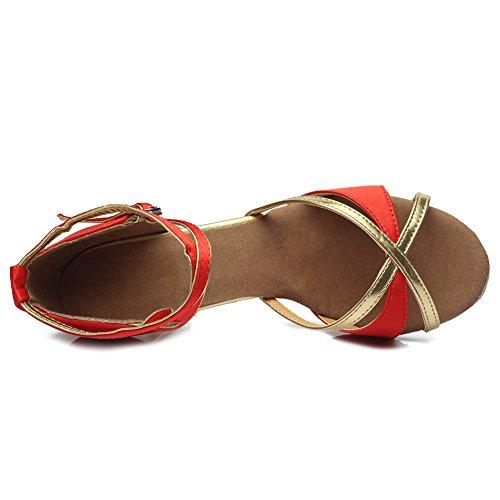 Baile Salón Cuero Latino Hroyl Mujer De Rojo 7 Cordón 805 Zapatos q0wWC1Wt