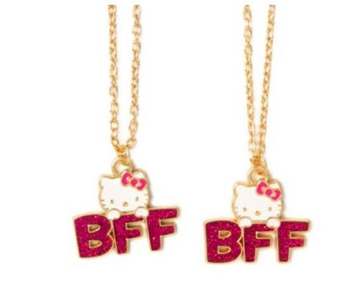 Set of 2 Hello Kitty by Sanrio Glitter BFF Pendant Necklaces