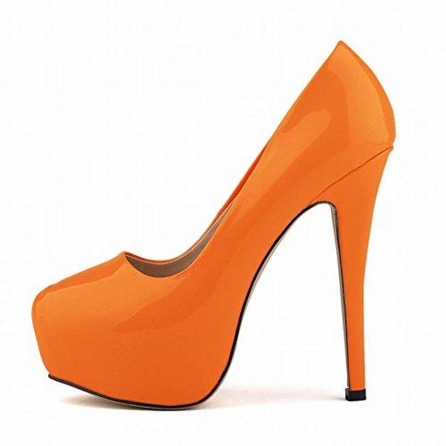 Damen High Heels Nightclub PU Single Shoes Wasserdicht Tisch Tanz Hochzeit Pumpe Orange