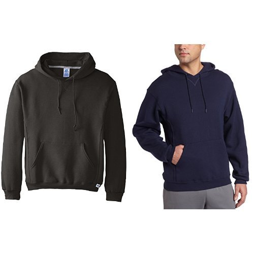 Russell Athletic Men's Dri-Power Pullover Fleece Hoodie ,Black/Black Heather,4XL