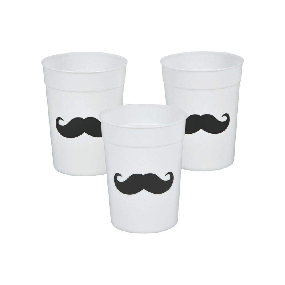 Fun Express Mustache Cups Reusable Plastic Party Cups - 12 Pieces