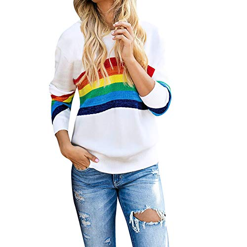 Wintialy Womens Casual Color Stripe Print Long Sleeve O Neck Blouse Tops Shirt