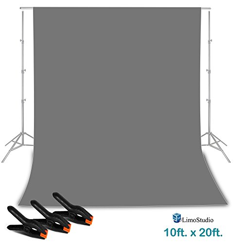 LimoStudio 9 ft. x 13 ft. Gray Professional Photography Studio Muslin Backdrop Background with 3 Heavy Duty Clip Clamp for Background Muslin, Canvas, Paper, Chromakey Screen, AGG2331
