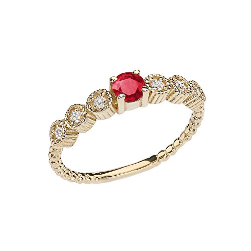 (14k Diamond Stackable/Promise Beaded Popcorn Collection Ring in Yellow Gold with Genuine Ruby Center Stone (Size 8))