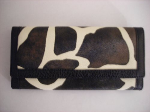Black Giraffe Wallet - Designer Inspired Giraffe Print Black Trim Wallet Clutch Checkbook Holder