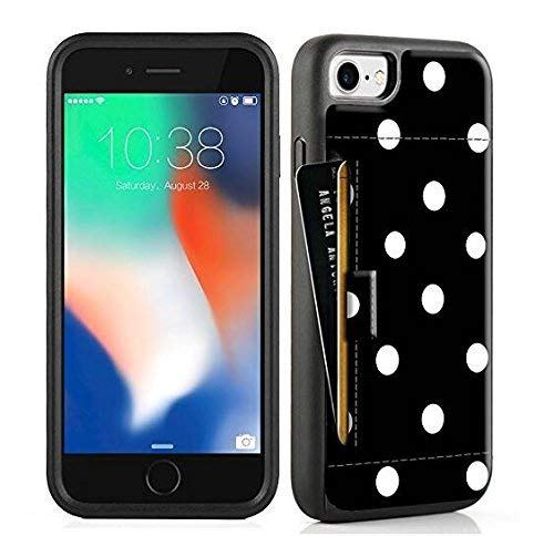 ZVE Case for Apple iPhone 8 and iPhone 7, 4.7 inch, Slim Leather Wallet Case with Credit Card Holder Slot Pocket Protective Case Cover for Apple iPhone 7/8 - Black Polka Dots