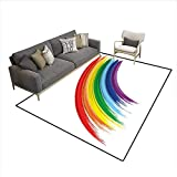 Freedom Drum Side Table Floor Mat,Abstract Brush Marked Rainbow Pattern with Realistic Feel Pride Week Love Freedom,Area Carpet,Multicolor 6'x8'