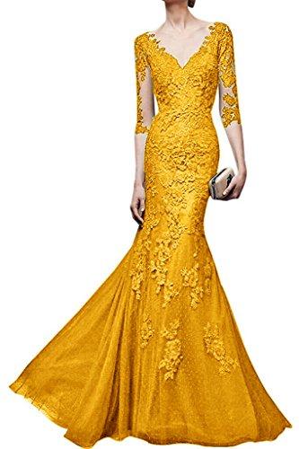 Jugendweihe Langarm Gelb Meerjungfrau Partykleider Kleider Gelb mia Abendkleider La Braut Lang Spitze Promkleider 6WASwc01