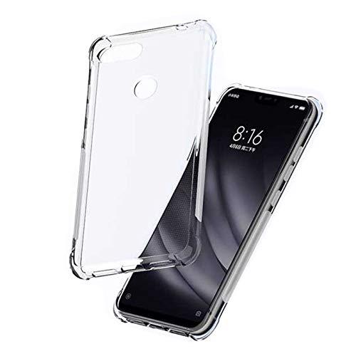Xiaomi Mi 8 Lite Case - SLEO [Air Cushion] Flexible Soft TPU Bumper Case with Shock-Absorption Back Protective Phone Cover for Xiaomi Mi 8 Lite, Clear