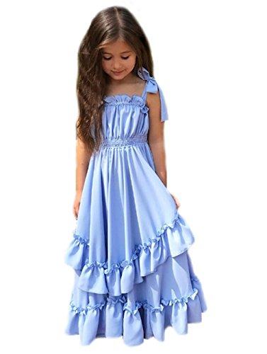 Baby Girls Beautiful Solid Blue Ruffle Bandage Waist Princess Dress Birthday Gift Party Dress Cake Dress (110CM (Cake Dresses)