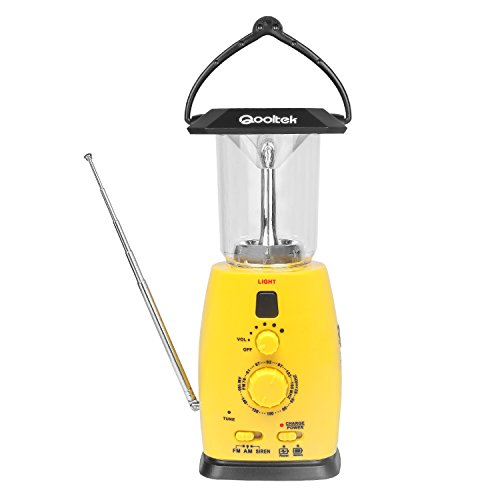 Qooltek Multi-functional 4-way Powered Solar Hand Crank LED Camping Lantern with AM/FM Radio and Emergency Cell Phone Charger (Yellow)