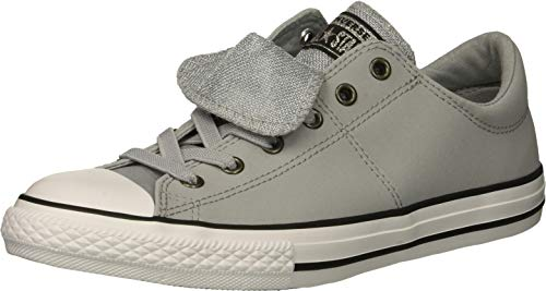 Converse Girls' Chuck Taylor All Star Maddie Glitter Leather Low Top Sneaker, Wolf Grey/Black/White, 12 M US Little Kid