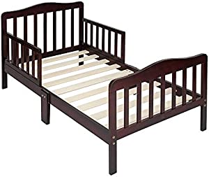 Toddler Bed, Wooden Baby Toddler Bed Children Bedroom Furniture with Two Side Safety Guardrails, Brown