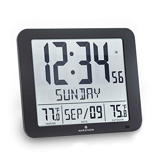 Marathon CL030027-FD-BK Slim Atomic Wall Clock with Indoor/Outdoor Temperature, Full Calendar and Large Display (New Full Display) Color: -