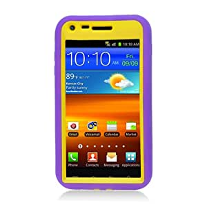 FOR Samsung Galaxy S2 Cdma D710 Purple Skin Case Hybrid Case Yellow with Stand [Free Screen, Stylus Pen]