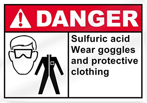 Sulfuric Acid Wear Goggles and Protective Clothing Danger Metal Tin Signs for Home Bar Garage Store Yard Office Sign
